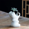 White Ceramic Hippo Planter