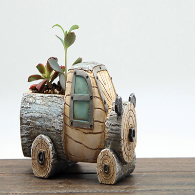 Set of 2 - Wood Truck Retro Style Succulent Planter