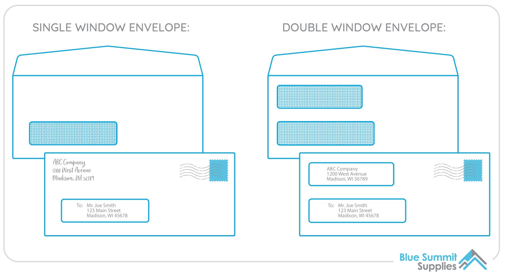 Number 10 Envelopes with Windows Diagram