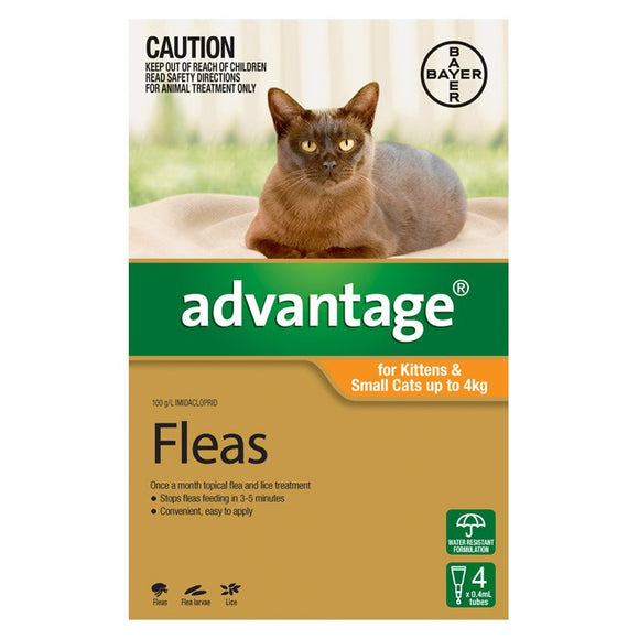 Advantage 4pk for kittens & small cats up to 4kg.