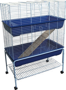 "40"" Rabbit Cage or Hutch Double Storey w/Stand"