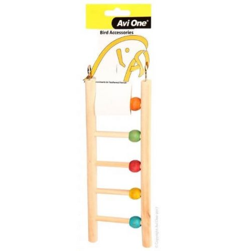 Avi One Bird Toy Wooden Ladder 5 Run With Beads.