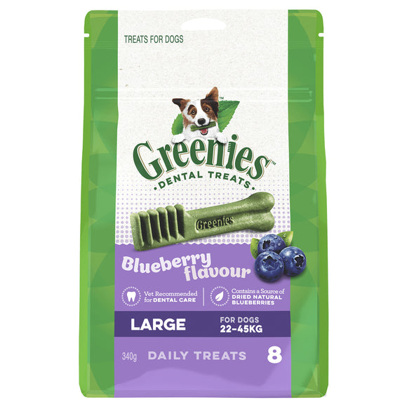Greenies Dental Chew Large for dogs  22 - 45kg - Blueberry Flavour- 340g  (8 treats)