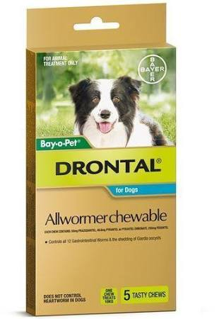 Drontal Allwormer For Dogs 5pk.