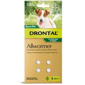 Drontal Allwormer For Small Dogs & Puppies 4pk.
