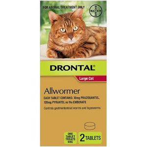 Drontal Large Cat Allwormer 2pk.