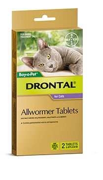 Drontal Cat Allwormer 2pk one tablet treats 4kg.