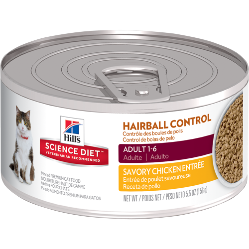 Hills-Adult-Hairball-Control,156g Savory Chicken Entree,Canned Cat Food..