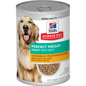 Hills-Adult Perfect Weight Chicken & Vegetable Entree,363g Canned Dog Food.