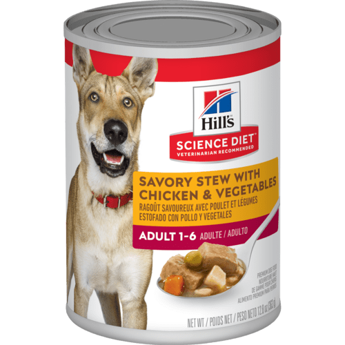 Hills-Adult-Savory-Stew-With-Chicken-and-Vegetables-363g Canned Dog Food.