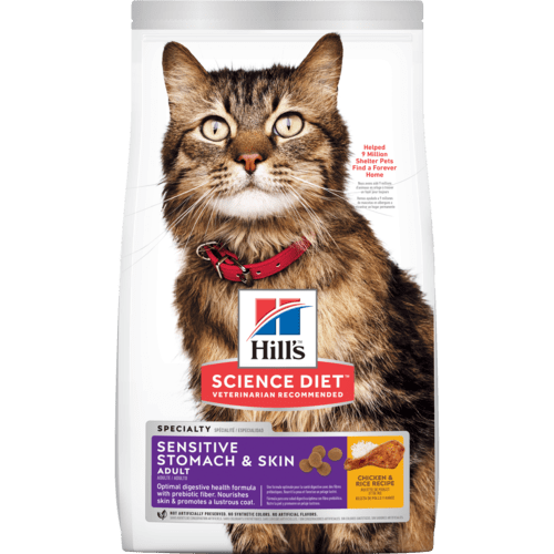 Hills-Adult-Sensitive-Stomach & Skin, 3.17kg Dry Cat Food.