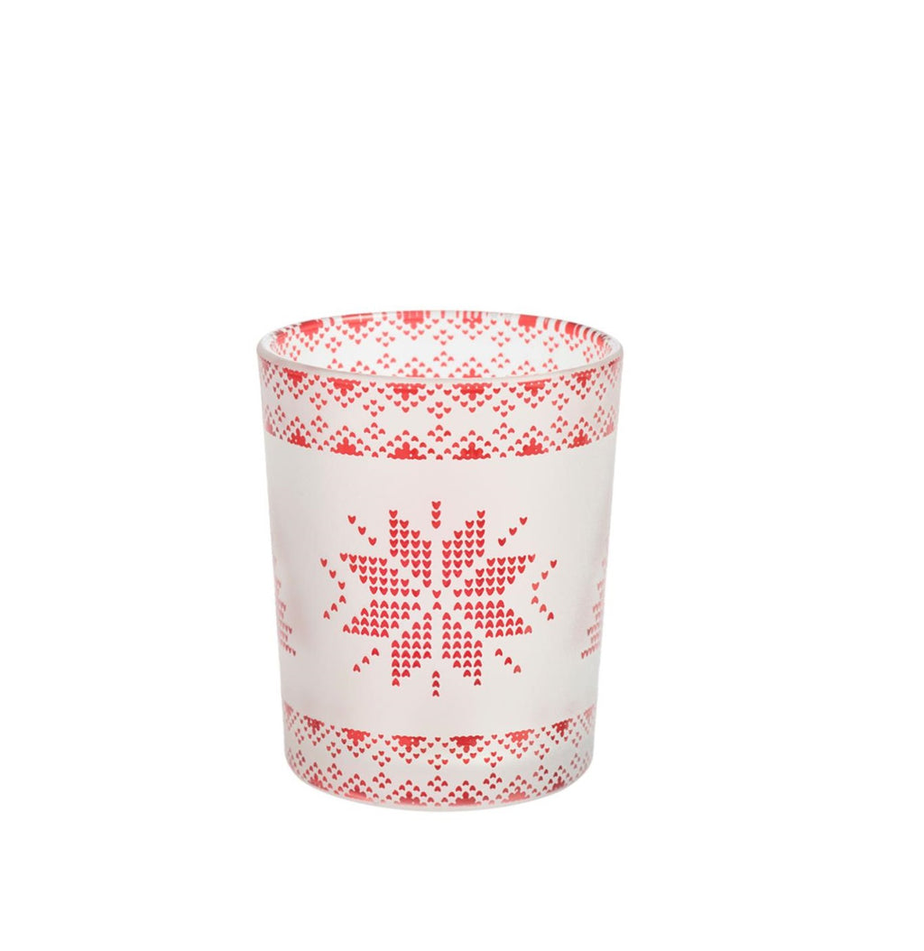 RED NORDIC FROSTED GLASS -Yankee Candle- Porta Candela Sampler o Tea Light