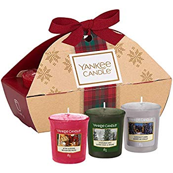 3 CANDELE SAMPLER -Yankee Candle- Confezione Regalo Natale