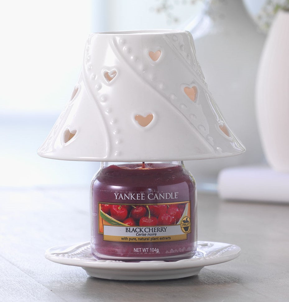 WHITE HEARTS -Yankee Candle- Paralume e Piatto Piccolo