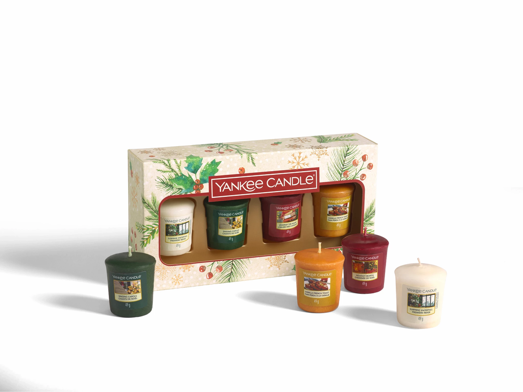 SET 4 CANDELE SAMPLER -Yankee Candle- Confezione Regalo Natale 2020