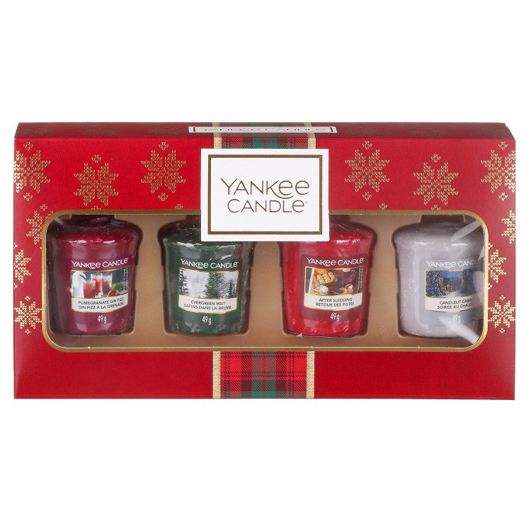 4 CANDELE SAMPLER -Yankee Candle- Confezione Regalo Natale