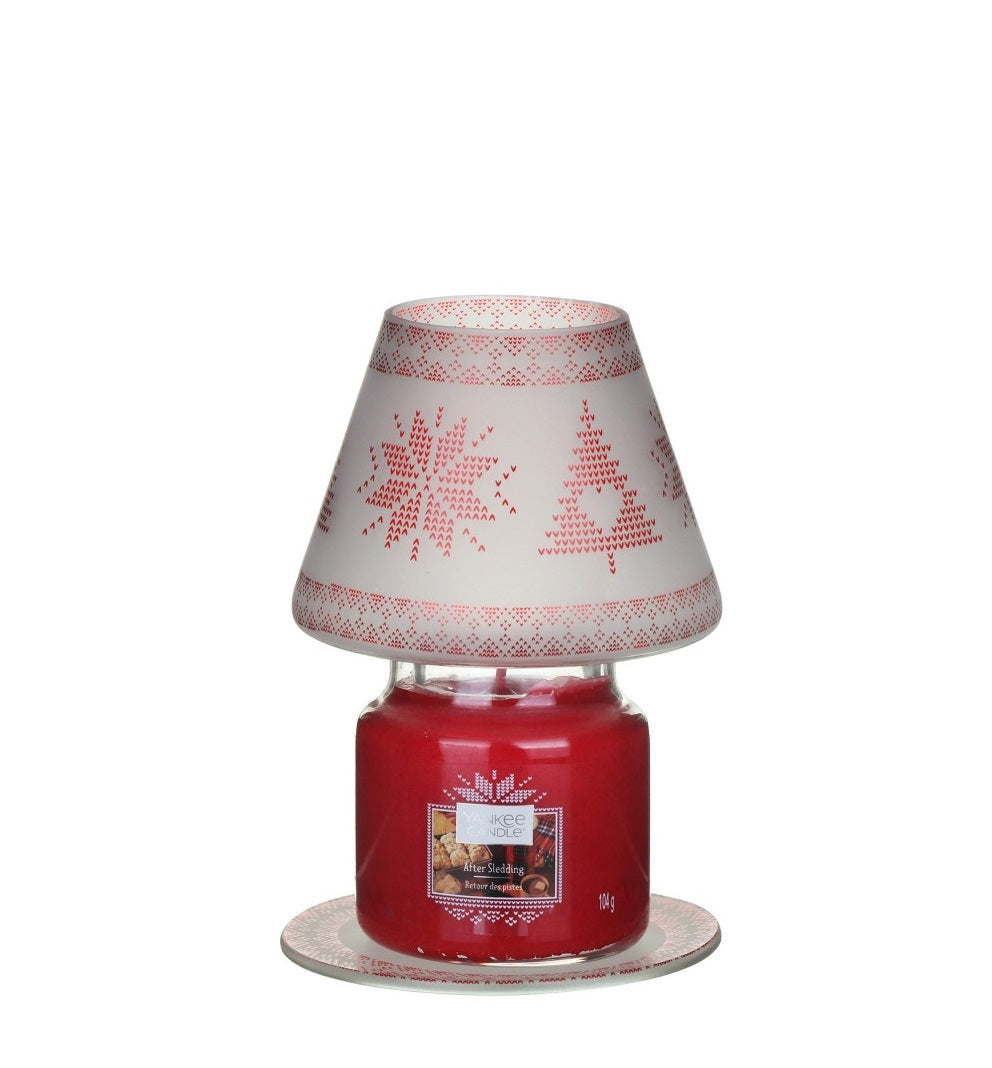 RED NORDIC FROSTED GLASS -Yankee Candle- Paralume e Piatto Piccolo