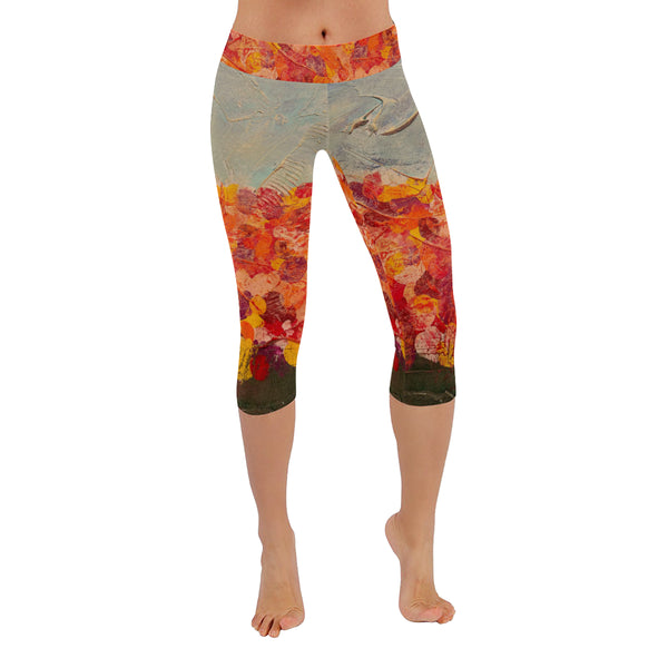 Flower Patch All-Over Low Rise Capri Leggings