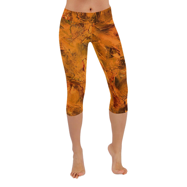 Pumpkin Spice All-Over Low Rise Capri Leggings