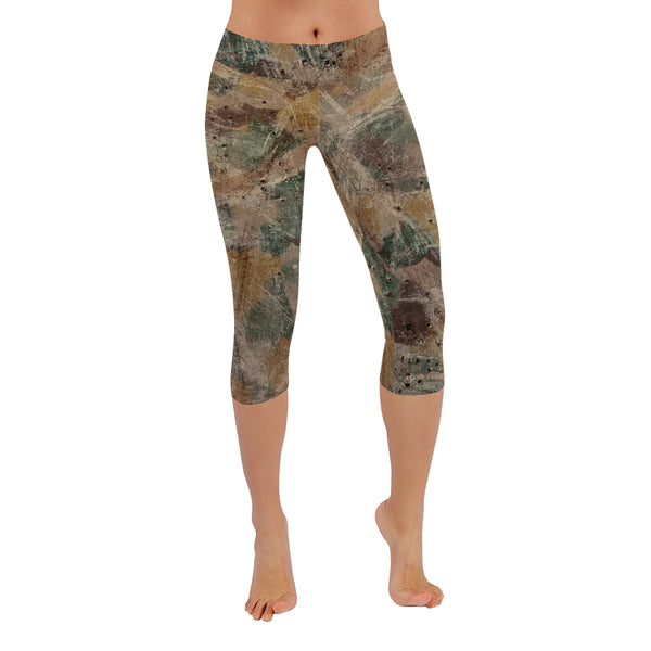 Gun Range Camo All-Over Low Rise Capri Leggings