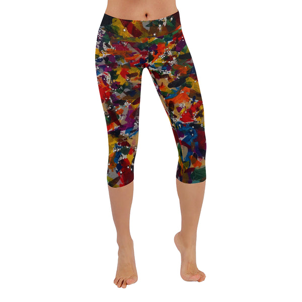 Feathers by Walther All-Over Low Rise Capri Leggings