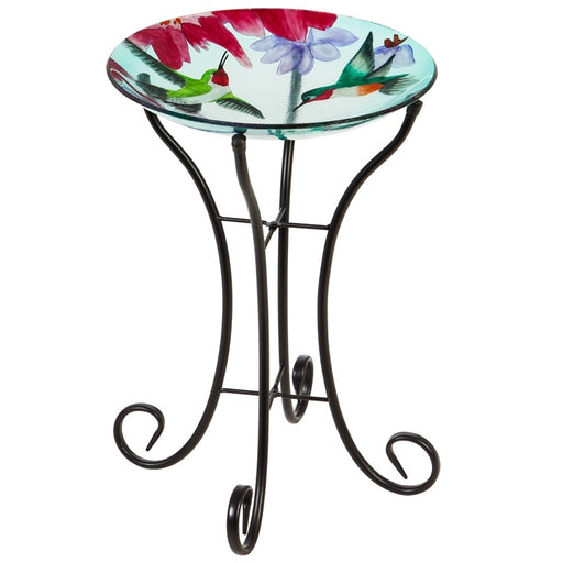 "16"" Glass Bird Bath w/Stand, Busy Hummingbirds"