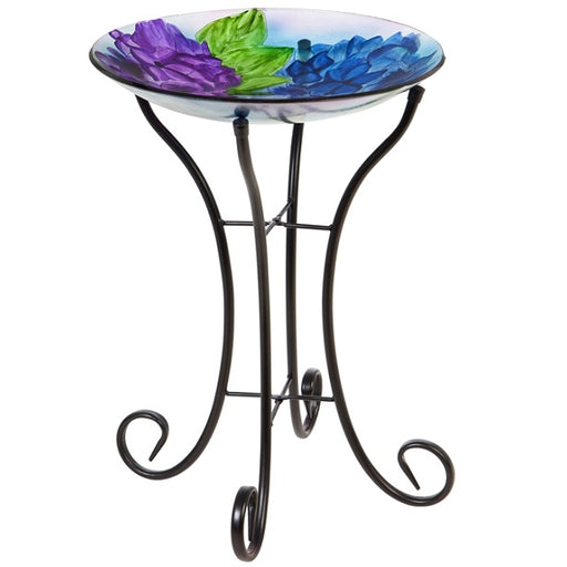 "16"" Glass Bird Bath w/Stand, Blooming Hydrangea"