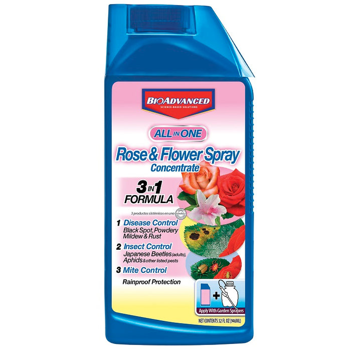 Rose & Flower Care 3-in-1 Insect, Disease & Mite Control, 32 oz. Concentrate- BioAdvanced