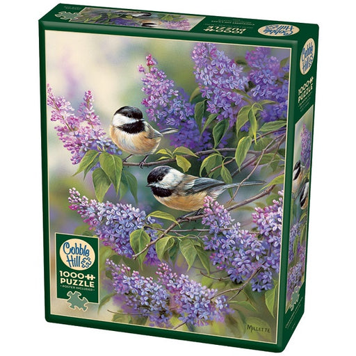 Cobble Hill 1000 Piece Jigsaw Puzzle, Chickadees and Lilacs