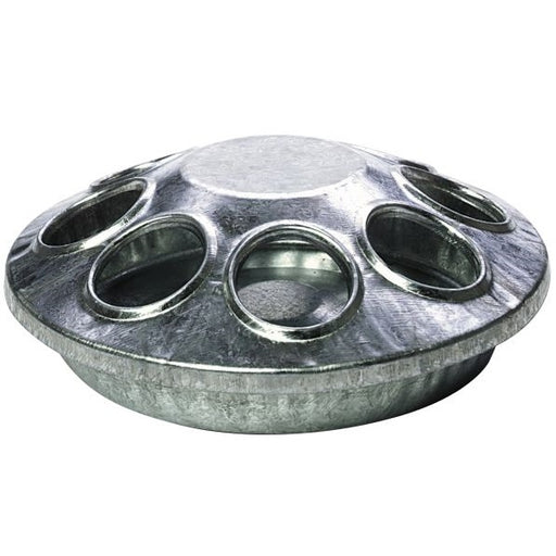 8-Hole Round Galvanized Chick Feeder