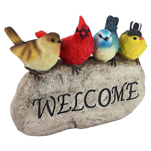 Birdy Welcome Garden Stone Statue, Large
