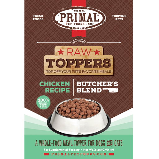 Primal Butcher's Blend Chicken Recipe Raw Food Topper for Dogs and Cats