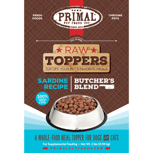 Primal Butcher's Blend Sardine Recipe Raw Food Topper for Dogs and Cats
