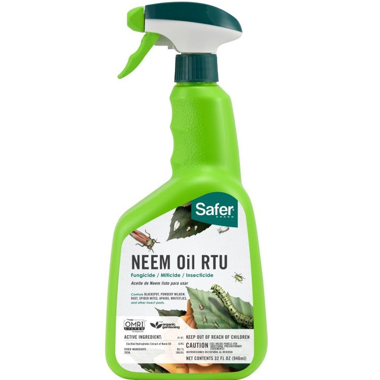 Safer® Brand Neem Oil Ready-to-Use - Fungicide, Miticide, Insecticide - 32 oz Spray