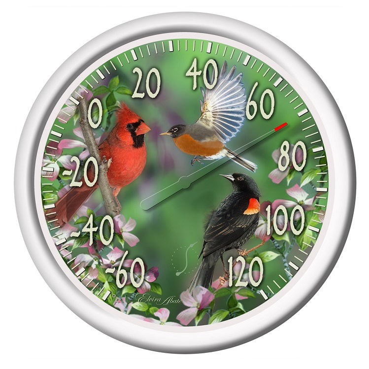 "Thermometer- 13.25"" Dial, Spring Bird Design"