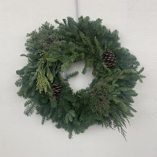 Decorated Noble Fir Wreath with Cones
