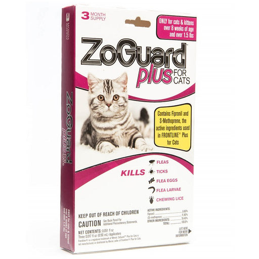 ZoGuard Plus Flea & Tick Treatment for Cats 3-Pack