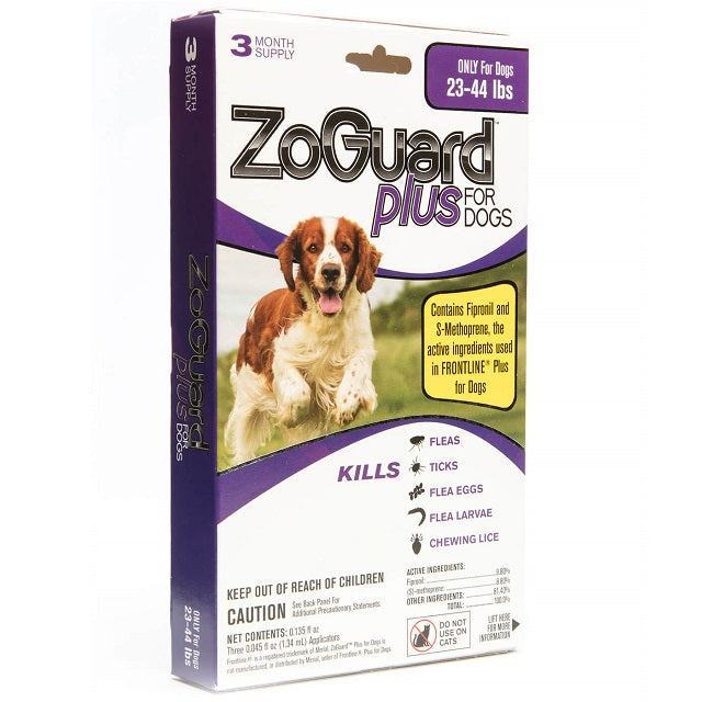 ZoGuard Plus Flea & Tick Treatment for Dogs 3-Pack, 23-44 lbs
