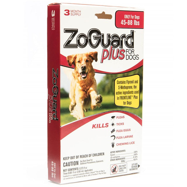ZoGuard Plus Flea & Tick Treatment for Dogs 3-Pack, 45-88 lbs