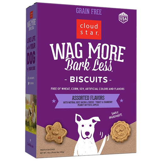 Cloud Star Wag More Bark Less Oven Baked Grain Free Assorted Flavors Dog Treats