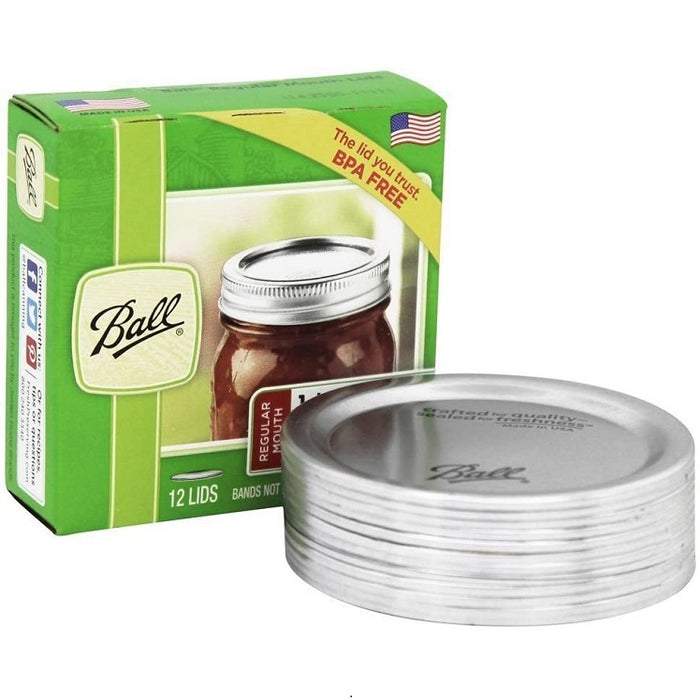 Lids for Regular Mouth Mason Jars, 12 pack