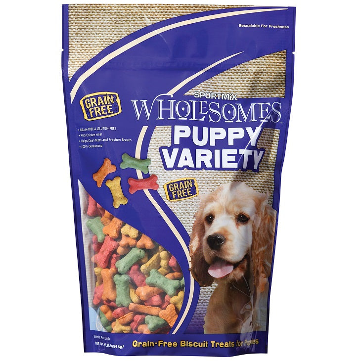 SPORTMiX Wholesomes Puppy Variety Biscuits Grain Free Dog Treats, 2-lb