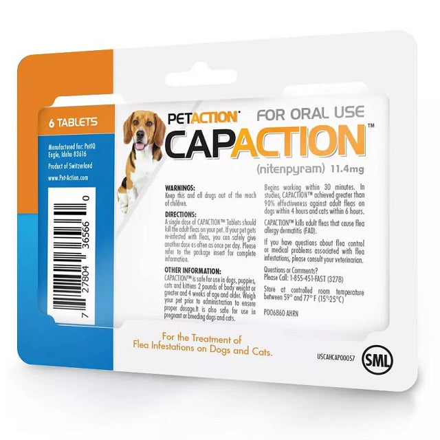 CapAction Flea Tablets for Dogs & Cats 2-25 lbs, 6 Count