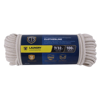Clothesline, Diamond Braided Cotton, 7/32-In.