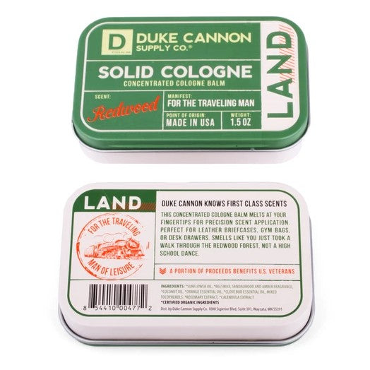 Duke Cannon Solid Cologne, Land