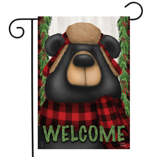 Winter Garden Flag, Woodsy Bear Welcome