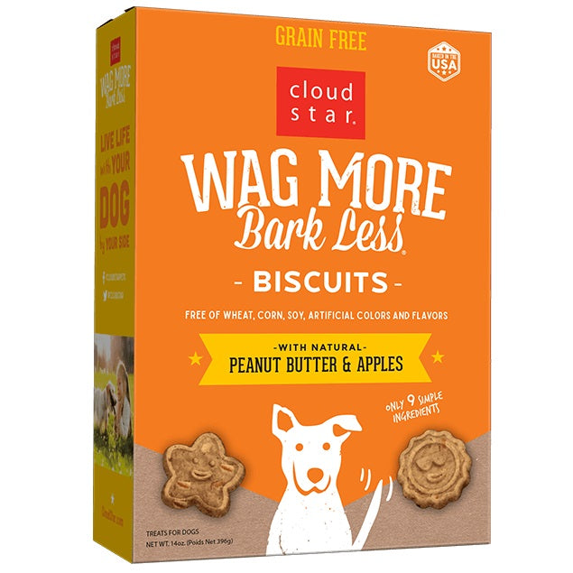Cloud Star Wag More Bark Less Oven Baked Grain Free Peanut Butter and Apples Dog Treats
