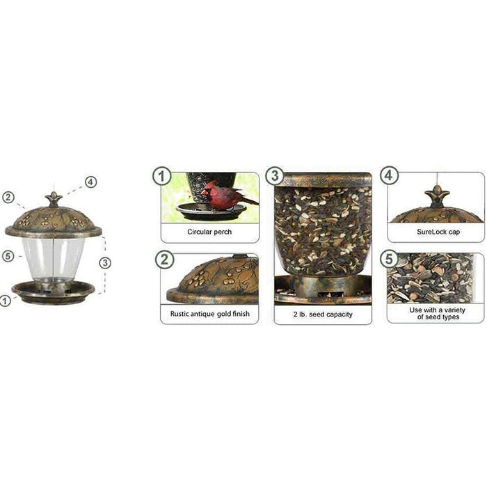 Holly Berry Gilded Chalet Bird Feeder