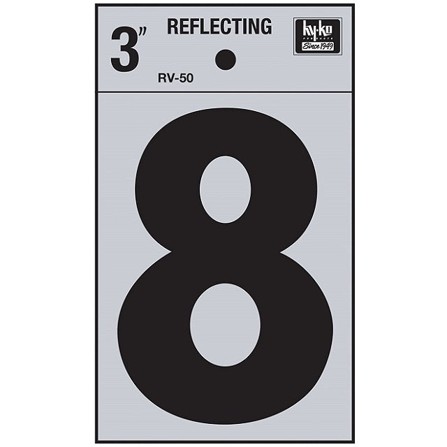 3 in. Vinyl Reflective Number 8