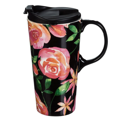 Ceramic Travel Mug with Gift Box, Floral Night